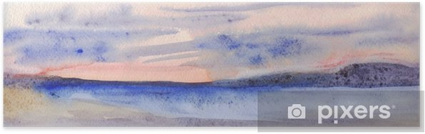 Poster Panoramische avondhorizon. lucht, bergen, zee, strand. aquarel schilderij - Landschappen