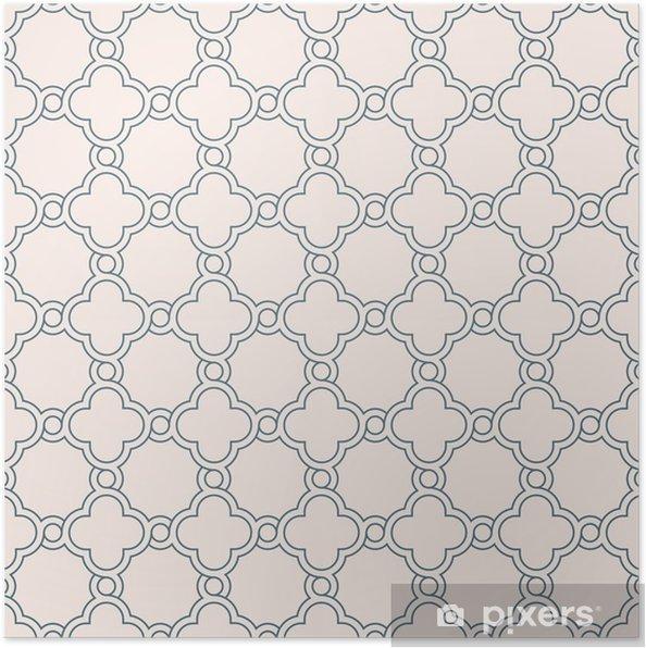 Poster Papier Peint De Treillis Quadrilobe Geometrique Traditionnel