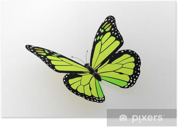 Poster Papillon rendu jaune - Concepts
