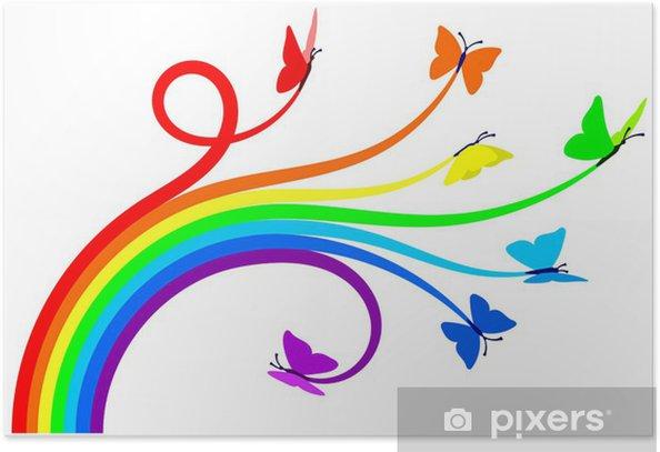 Poster Papillons arc-en- - Sticker mural