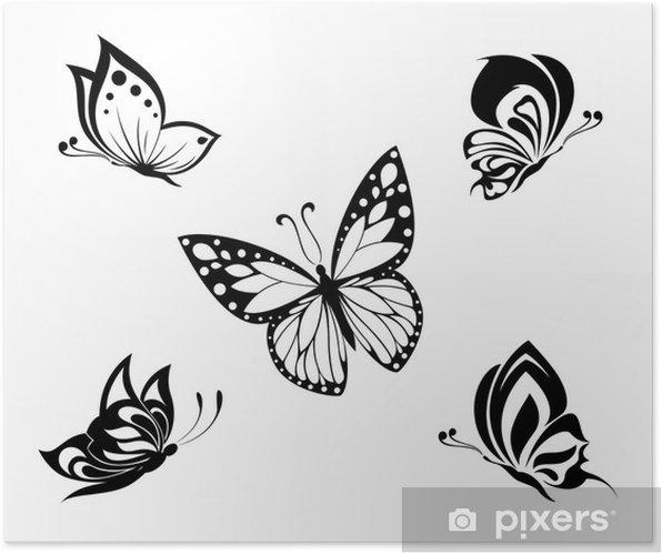 poster papillons tatouage noir et blanc fix s pixers nous vivons pour changer. Black Bedroom Furniture Sets. Home Design Ideas