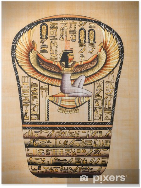 """Póster Papiro egipcio que muestra Isis, llamado como """"Mather de los dioses"""" - África"""