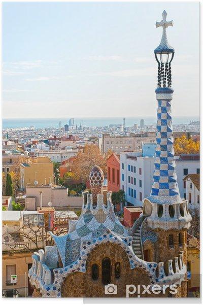 Poster Parc Guell à Barcelone, en Espagne. - Destin