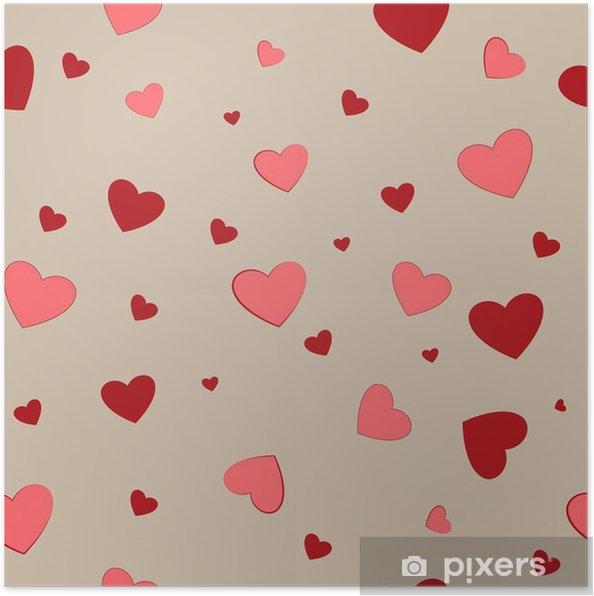 Póster Pareja de corazón de patrones sin fisuras. diseño de fondo ...