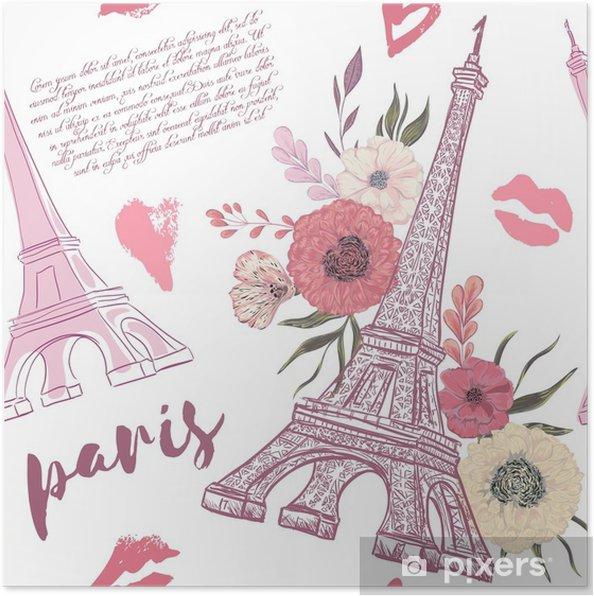 Póster París. vintage de patrones sin fisuras con la torre Eiffel ...