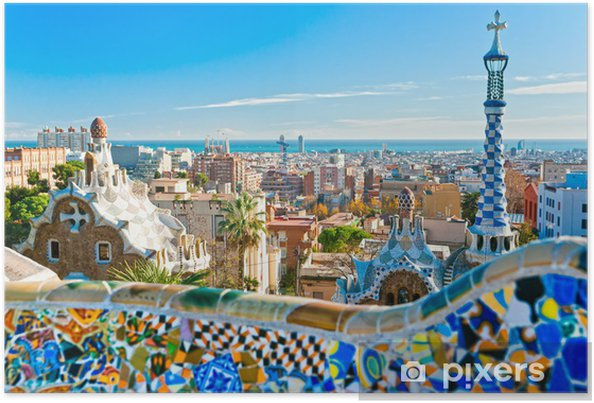 Poster Park Guell in Barcelona, Spanje. - Thema's