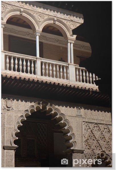 Póster Parte de una fachada típica de los Reales Alcázares de Sevilla. - Europa