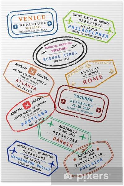 Póster Pasaporte Página De Timbres De Viajes Visados De Viaje