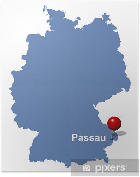 Passau Auf Der Deutschlandkarte Poster Pixers We Live To Change
