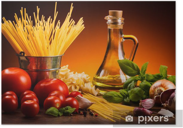 Pasta and fresh vegetables Poster - Themes