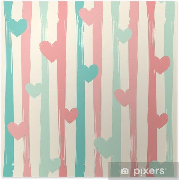 Poster Pastel strepen en harten. naadloze vector patroon. - Grafische Bronnen