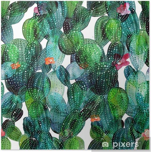 Póster Patrón de cactus en el estilo de la acuarela - Plantas y flores