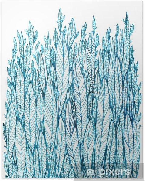 Póster Patrón de color azul hojas, hierba, plumas, dibujo de la tinta de la acuarela - Plantas y flores