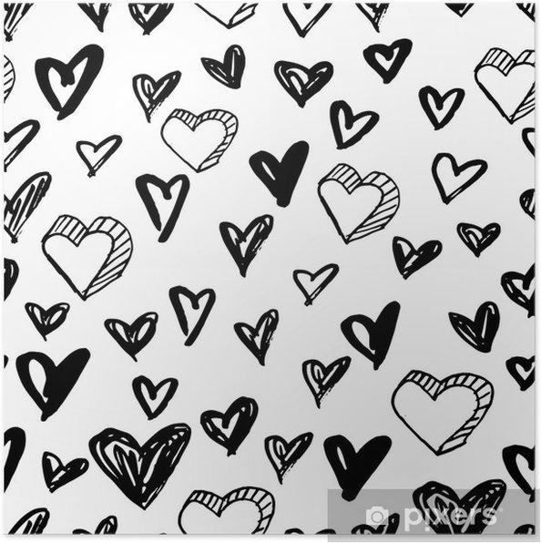 Póster Patrón de corazones transparente de vector. fondo blanco y ...