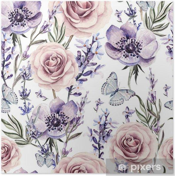 Póster Patrón de la acuarela con los colores de la lavanda, rosas y anémona. - Flores y plantas