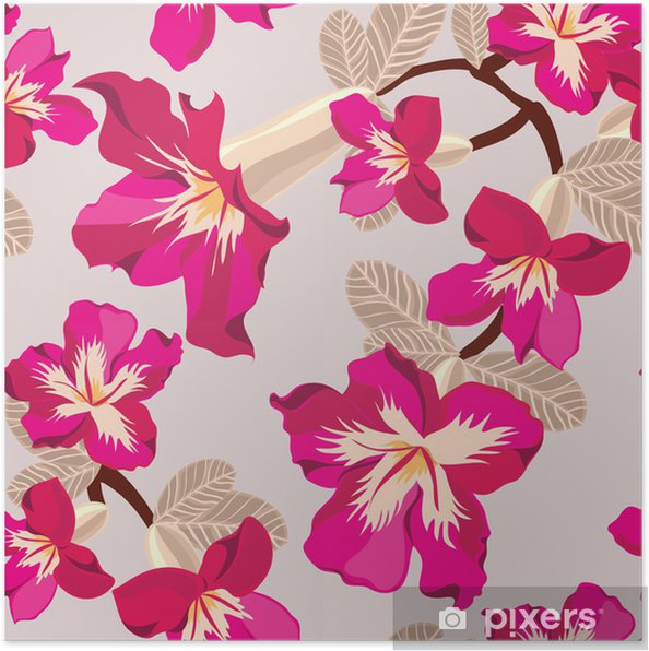 Póster Patrón Floral Sin Fisuras Con Flores De Color Rosa Dibujo A