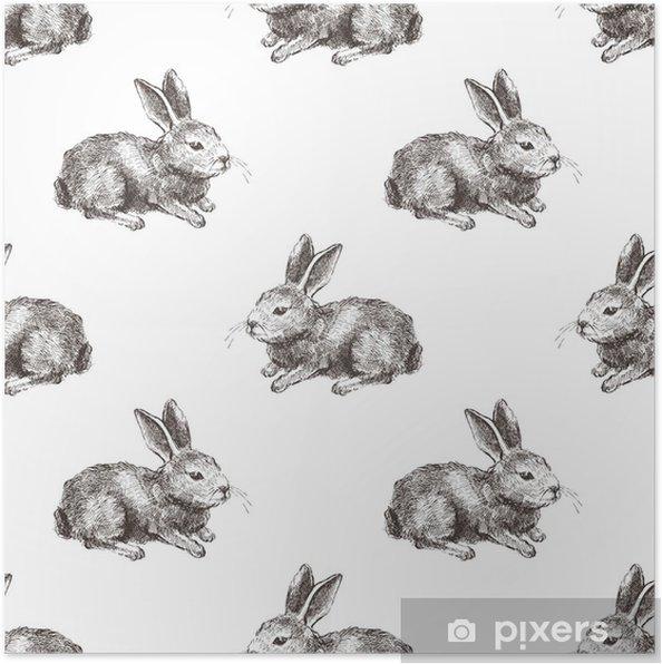Póster Patrón sin costuras con conejo dibujado a mano • Pixers ...