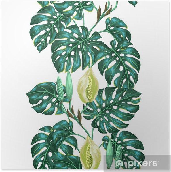 Póster Patrón sin fisuras con las hojas del monstera. Imagen decorativa de follaje tropical y flores. Antecedentes de hecho sin la máscara de recorte. Fácil de usar para el telón de fondo, textiles, papel de envolver -