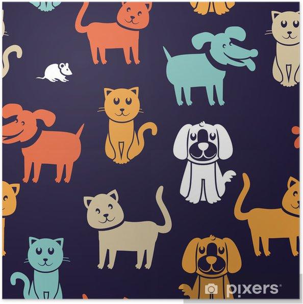 Póster Patrón transparente con gatos y perros divertidos - Fondos