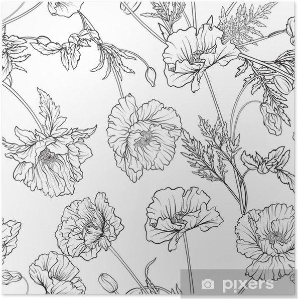 Póster Patrones sin fisuras con flores de amapola en estilo botánico ...