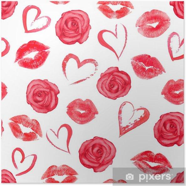 Póster Patrones sin fisuras con rosas, corazones y besos de labios ...