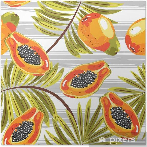 Poster Patroon van gesneden papaja met tropische bladeren. op een blauwe achtergrond. naadloos. - Bloemen en Planten