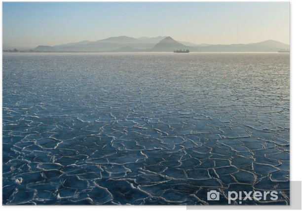 Pattern on the ice of the frozen sea. Poster - Landscapes