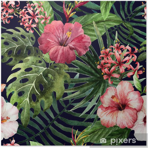 Pattern Orchid Hibiscus Leaves Watercolor Tropics Poster Pixers