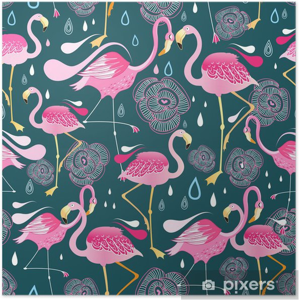 pattern with flamingos Poster - Themes