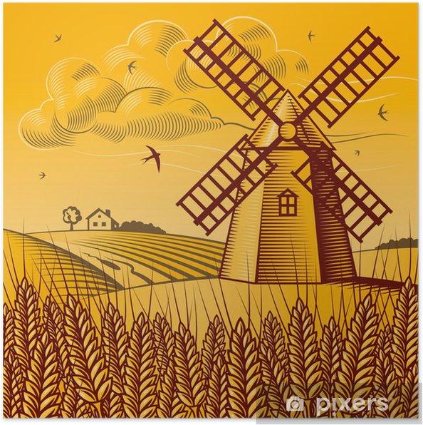 Poster Paysage avec moulin à vent - Agriculture