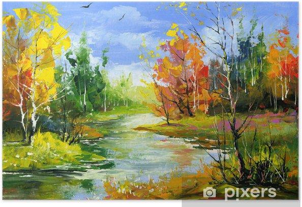 Poster Paysage d'automne avec la rivière de bois - Styles
