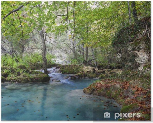 Poster Paysage d'automne avec turquoise water.Northern Espagne. - Thèmes