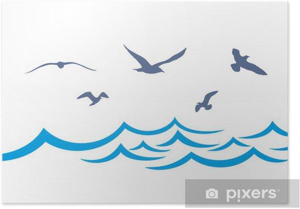 Poster Paysage de mer avec des mouettes. - Eau