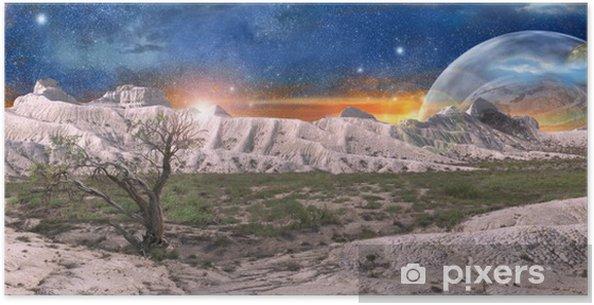 Poster Paysage fantastique de l'espace - Montagne