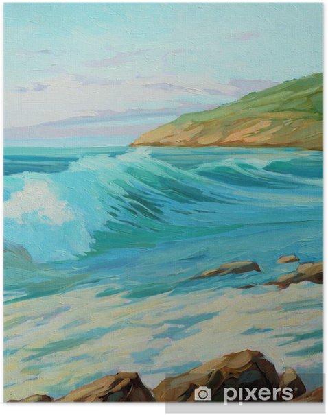 Poster Paysage méditerranéen avec la vague, illustration turquoise, peinture - Art et création