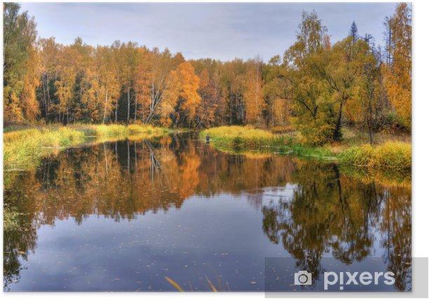 Poster Paysage panoramique avec le lac de la forêt en automne - Saisons