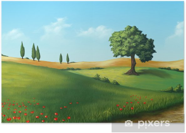 Poster Paysage serein - Agriculture