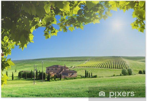 Poster Paysage Toscane avec la maison de ferme typique - Thèmes