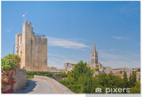 Poster Paysage urbain du centre de Saint-Emilion, France - Europe