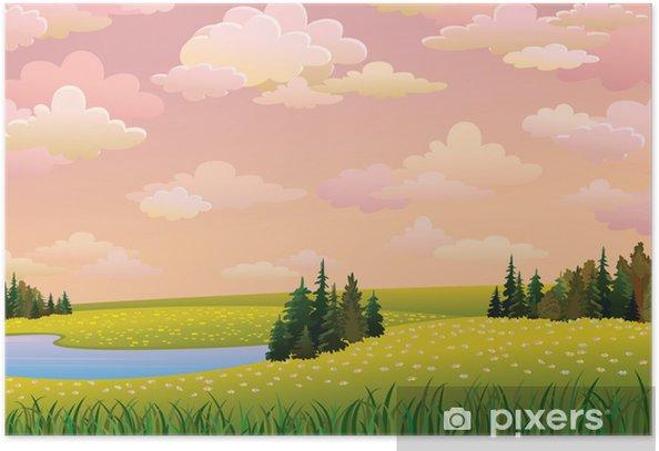 Poster Paysage vert avec des prés, le lac et le ciel nuageux - Saisons