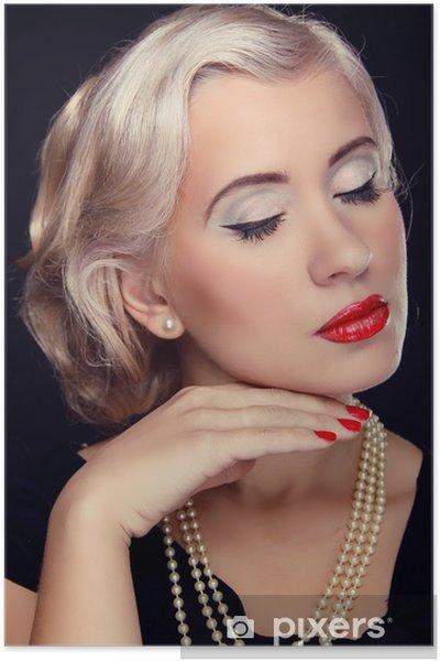 Poster Peinado Y Maquillaje Retrato De Mujer De Retro Rubia