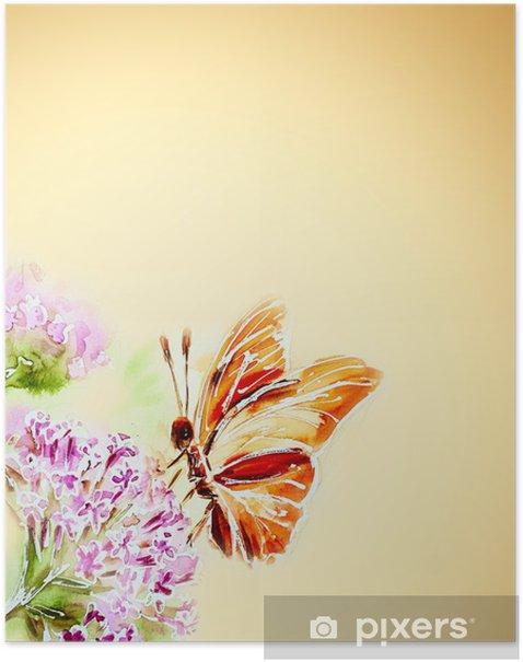 Poster Peint carte d'aquarelle avec des fleurs d'été et le papillon - Thèmes