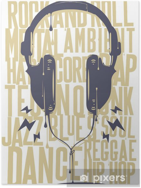 Poster Peinte casque - Hip hop
