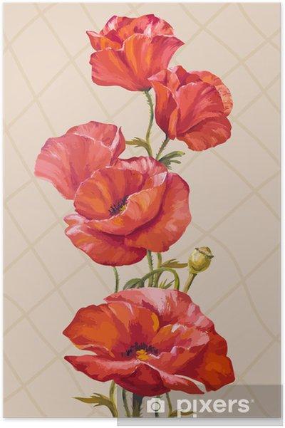 bd604851a6c3 Poster Peinture à l huile. Carte avec fleurs de pavots • Pixers ...