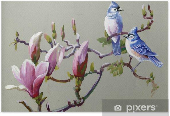 Poster Peinture Oiseaux de collecte de printemps - Thèmes