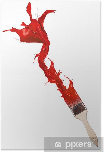 Poster Peinture Rouge Eclaboussures De Pinceau Isole Sur Fond Blanc Pixers Nous Vivons Pour Changer
