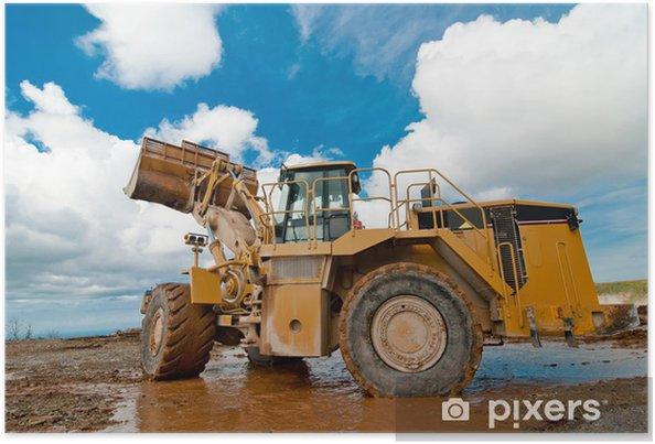 Poster Pelle bulldozer dans la carrière - Industrie lourde