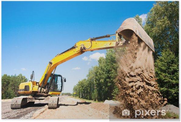 Poster Pelle le déchargement de sable pendant les travaux de construction de routes - Industrie lourde