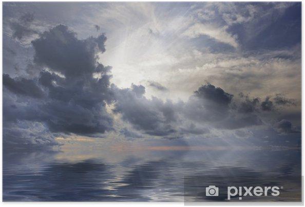Poster Percée des rayons de soleil - Ciel