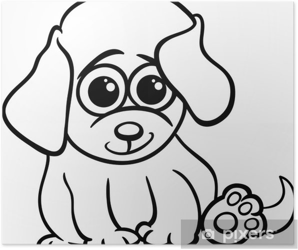 Póster Perrito Bebé Para Colorear De Dibujos Animados Pixers